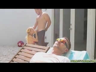 Riley Star&#039_s cousin fucks her by the pool