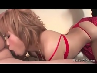 Submissive Sumire Matsu chained to the bed and fed cocks