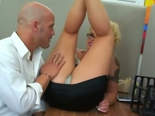 Busty curvaceous blonde Brooke Haven is having sex with her colleague