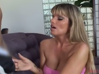 Gorgeous blonde MILF giving fantastic deepthroat blowjob