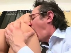 Chick is charming teacher's cock with zealous oral sex