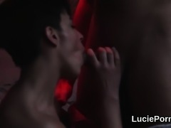 Trainee lesbian cuties get their soft snatches licked and po