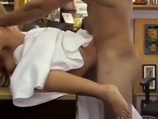 Blonde Dirtbag In Wedding Dress Bent Over Pawn Shop Desk