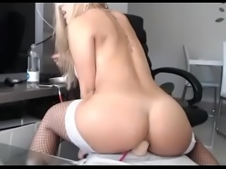 Hottest blonde rides her ass with big dildo live cam  - camtocambabe.com