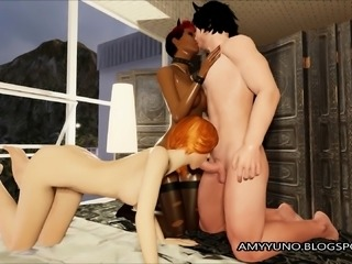 SUPER Hot FFM Threesome In Virtual 3D Game World!