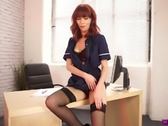 This horny secretary likes to work hard and she likes to show off her body
