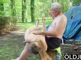 Naughty Teen Ass Spanking by Old man And Kissing Fucked