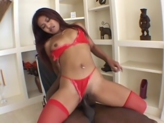 Latin hottie in red nylons butt-banged