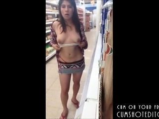 Mexican Amateur Risky Flashing In A Supermarket