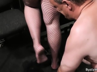Boss fucks brunette plumper in fishnets from behind
