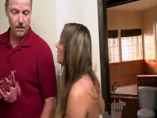 Shower sex orgasm Charlotte Cross gets the plumber to neat her pipes