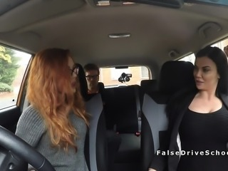 Busty examiner bangs instructor and student