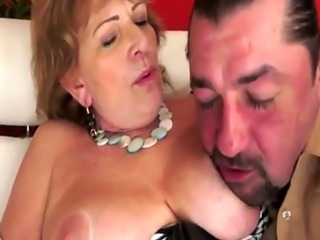 Busty grandmother pussyfucked in many poses