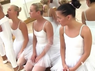 3 slutty ballerinas get fucked by instructor