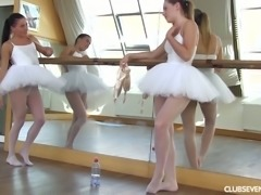 Cute and charming ballerinas get rid of tutus and take a shower together