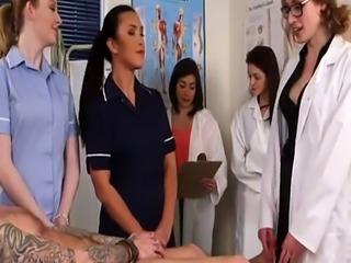 Stunning CFNM nurses blowing patients cock