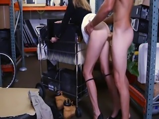 Hot blonde MILF sucks off and nailed by horny pawn dude