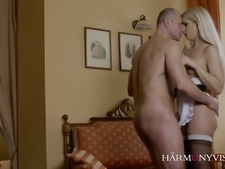 Stunning blonde maid lures stud and gets a chance to blow his prick