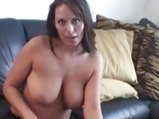 Busty amateur Lesley playing her pussy after hot interview