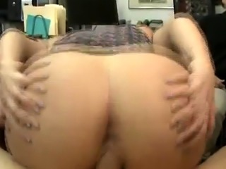 Big White Booty Bimbo Riding On Dick In Pawn Shop Office