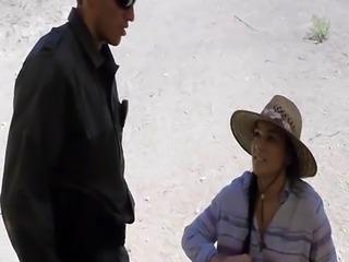 Agent of border patrol fucks hot big ass Latina's wet pussy in var