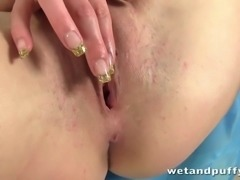 Blonde girl fucks her pussy with a banana