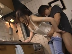 bored japanese housewife rides cock