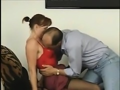 Teen redhead in stockings enjoys a hot fuck