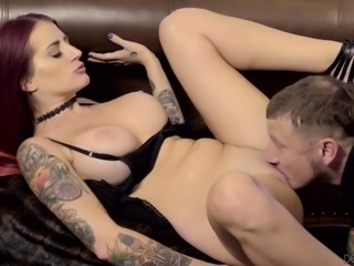 She doesn't care about her husband at all. Instead, she wants to fuck with the drummer of the band. She opens up her pussy for him and gets plowed hard. After some cunnilingus she gives a very sloppy blowjob.