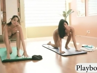 Yoga session with huge tits yoga teacher and hot girls