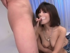 Ardent short haired brunette Japanese nympho has a voracious appetite for cum