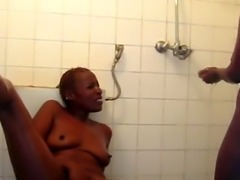 Short haired African lesbian love getting pleased by her busty female