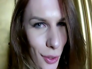 Busty russian trap tugging her hard cock