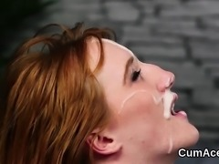 Unusual centerfold gets jizz load on her face swallowing all