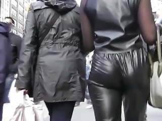 Candid jiggle leather spandex nylon pleather