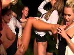 Glamour piss babes outdoors fucking in group