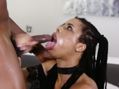 Long haired dark skinned hooker is totally into blowing fat big cock