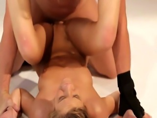 Slender babe Molly Manson gets fucked during a photo shoot