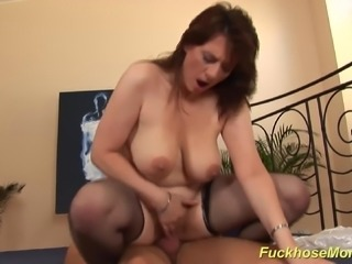 my horny big natural breast milf enjoys a strong dick
