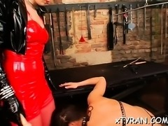 Hot maid gets her butt spanked in female domination fetish