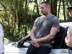 Clothed cop babes suck