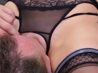 Scarlet is a wild woman with lovely breasts and spiderwebs tattooed on them. She wants her pleasure first, as she straddles Alec's face and keeps her pussy there until she gets it. She sucks him beautifully, as he tongues her, then gets that hard cock inside her.