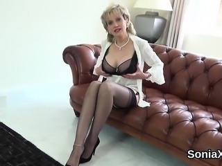 Unfaithful british milf lady sonia exposes her giant breasts