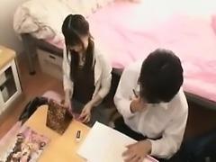Asian teen does handjob n blowjob