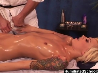 Emma Mae loves getting massaged and even more when its from Evan Stone