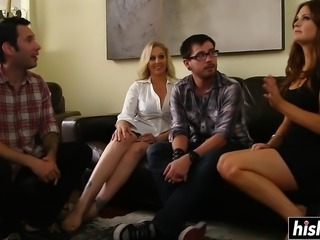 Giant gangbang with two beautiful girls