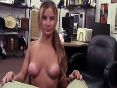 Horny pawndude stretches a sluts tight pussy in his office