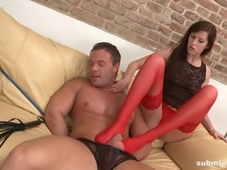 Grace is a babe in red stockings who loves making a dick hard