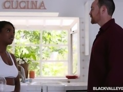 Huge breasted ebony slut Daya Knight knows how to ride white dick