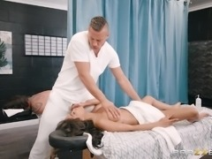 busty brunette gets nailed by her masseur